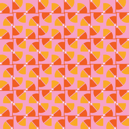 Vector seamless pattern texture background with geometric shapes, colored in pink, orange, yellow and white colors.