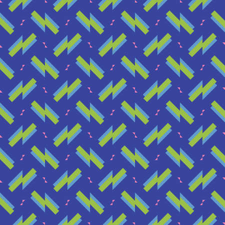 Vector seamless pattern texture background with geometric shapes, colored in blue, green and pink colors.
