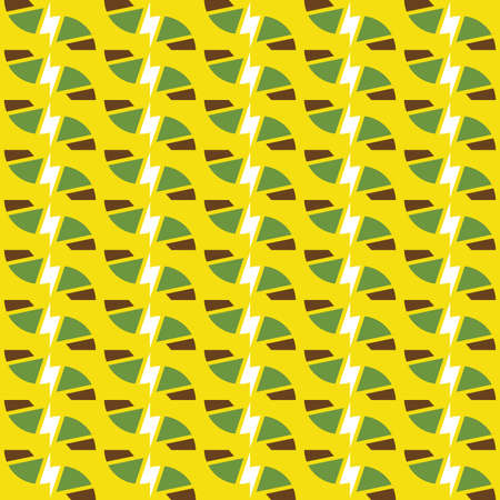 Vector seamless pattern texture background with geometric shapes, colored in yellow, brown, white and green colors. Illustration