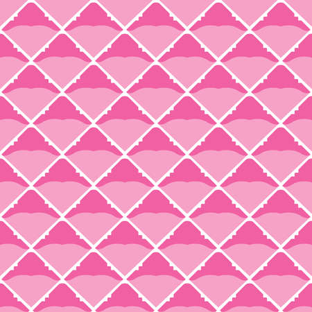 Vector seamless pattern texture background with geometric shapes, colored in pink and white colors.
