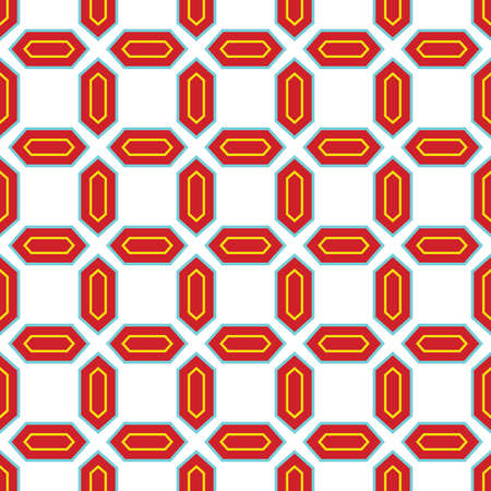 Vector seamless pattern texture background with geometric shapes, colored in red, blue, yellow and white colors. Illustration