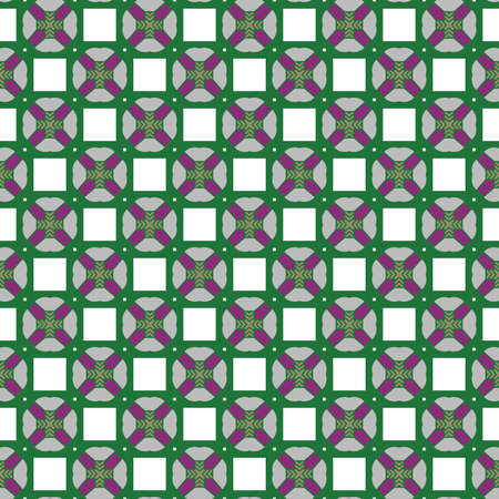 Vector seamless pattern texture background with geometric shapes, colored in purple, green, brown, white and grey colors. Illustration