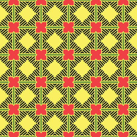 Vector seamless pattern texture background with geometric shapes, colored in yellow, black, green and red colors. Illustration