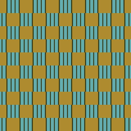 Vector seamless pattern texture background with geometric shapes, colored in gold, blue and green colors. Illustration