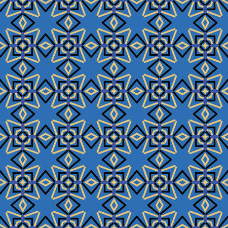 Vector seamless pattern texture background with geometric shapes, colored in blue, black and yellow colors.