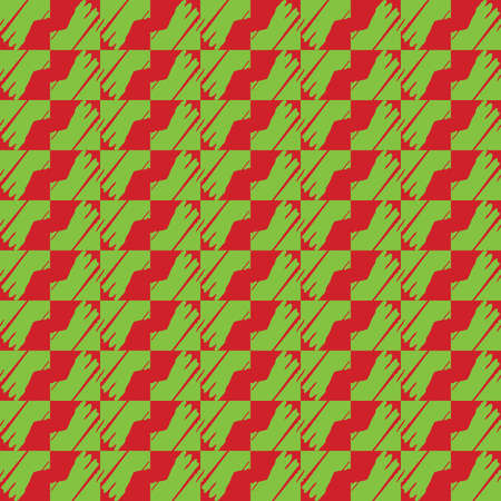 Vector seamless pattern texture background with geometric shapes, colored in green and red colors.