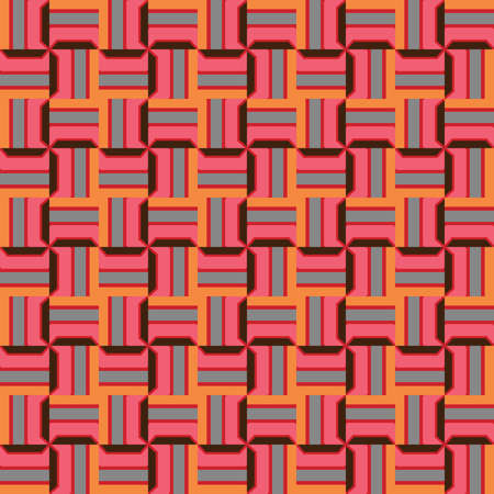 Vector seamless pattern texture background with geometric shapes, colored in pink, red, orange, black and blue colors.