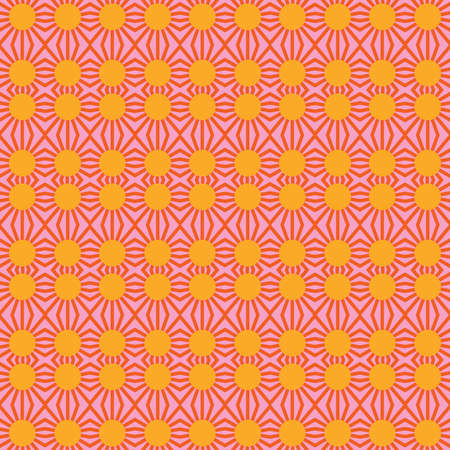 Vector seamless pattern texture background with geometric shapes, colored in orange, yellow and pink colors.