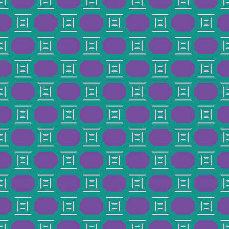 Vector seamless pattern texture background with geometric shapes, colored in green, purple and pink colors.