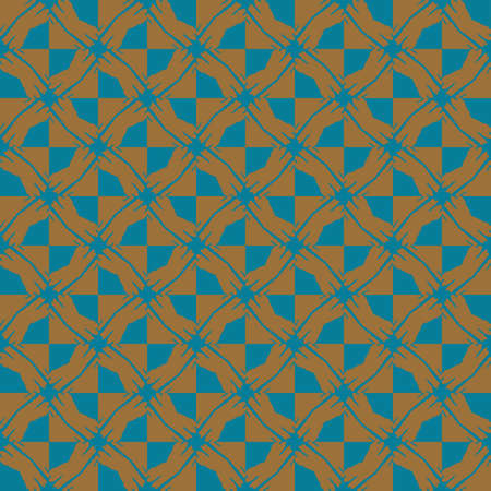 Vector seamless pattern texture background with geometric shapes, colored in brown and blue colors.
