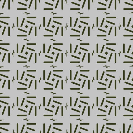Vector seamless pattern texture background with geometric shapes, colored in grey and green colors.