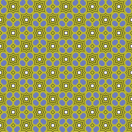 Vector seamless pattern texture background with geometric shapes, colored in blue, green, black and white colors. Illustration