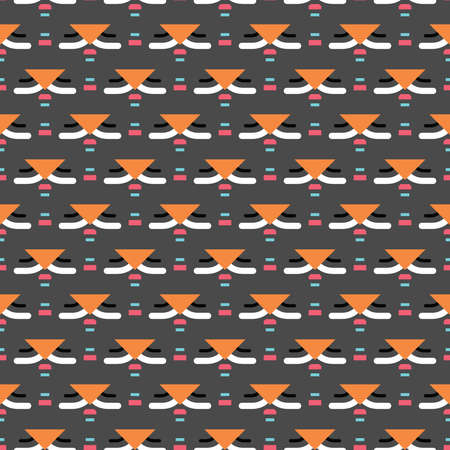 Vector seamless pattern texture background with geometric shapes, colored in grey, black, orange, pink, blue and white colors. Illustration