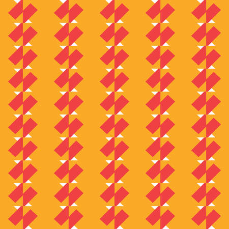 Vector seamless pattern texture background with geometric shapes, colored in yellow, red and white colors. Illustration