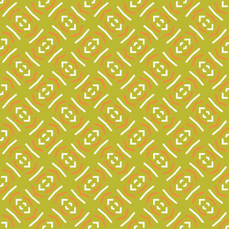 Vector seamless pattern background texture with geometric shapes, colored in green, orange and white colors. Standard-Bild - 157157663