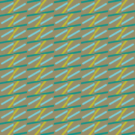 Vector seamless pattern background texture with geometric shapes, colored in brown, blue, green and yellow colors. Standard-Bild - 157157724