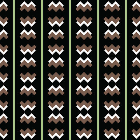 Vector seamless pattern texture background with geometric shapes, colored in black, brown, green and white colors.