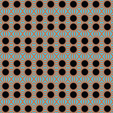 Vector seamless pattern texture background with geometric shapes, colored in black, orange and blue colors.