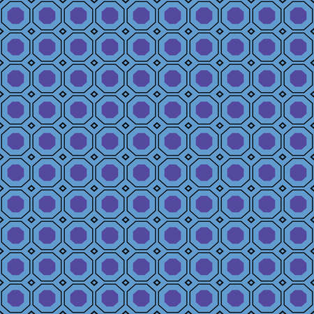 Vector seamless pattern texture background with geometric shapes, colored in blue and black colors. 向量圖像