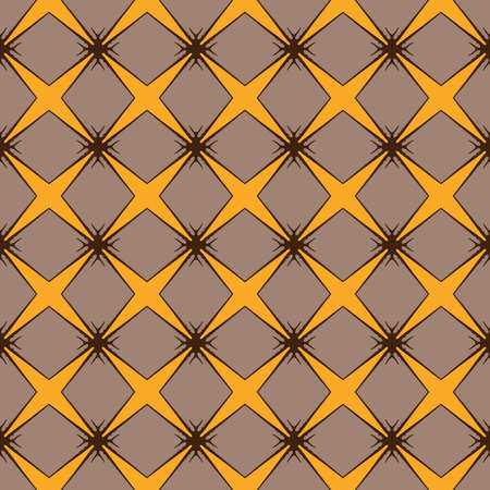 Vector seamless pattern texture background with geometric shapes, colored in brown and yellow colors.