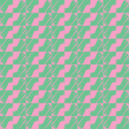 Vector seamless pattern texture background with geometric shapes, colored in green and pink colors.