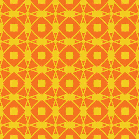 Vector seamless pattern texture background with geometric shapes, colored in yellow and orange colors.