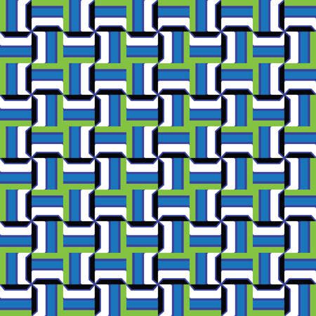 Vector seamless pattern texture background with geometric shapes, colored in green, blue, black and white colors.