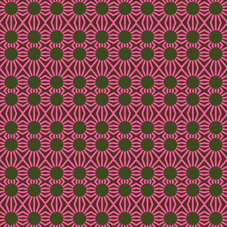 Vector seamless pattern texture background with geometric shapes, colored in pink, green and brown colors.