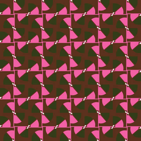 Vector seamless pattern texture background with geometric shapes, colored in green, brown, pink and white colors.