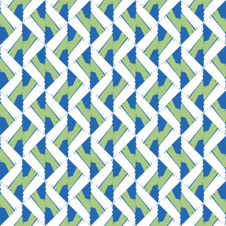 Vector seamless pattern texture background with geometric shapes, colored in blue, green and white colors. Иллюстрация