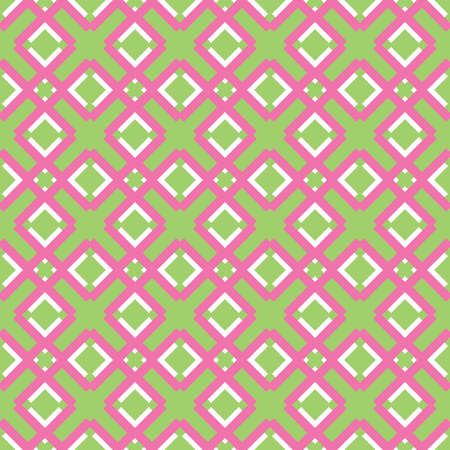 Vector seamless pattern texture background with geometric shapes, colored in gren, pink and white colors. Иллюстрация