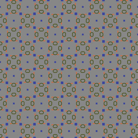 Vector seamless pattern texture background with geometric shapes, colored in grey, orange, green and blue colors. Иллюстрация
