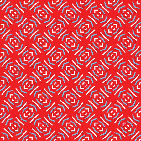 Vector seamless pattern texture background with geometric shapes, colored in red, blue and white colors. Иллюстрация