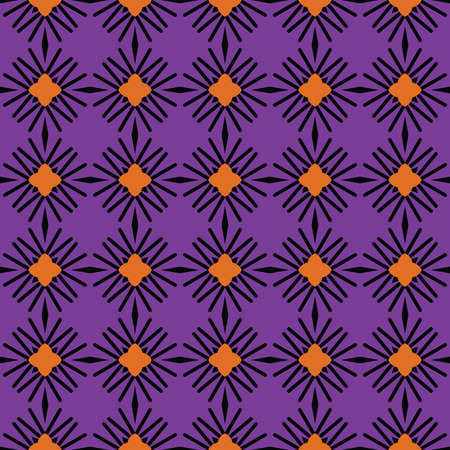 Vector seamless pattern texture background with geometric shapes, colored in purple, orange and black colors.