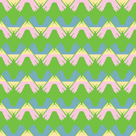 Vector seamless pattern texture background with geometric shapes, colored in green, pink, blue and yellow colors.