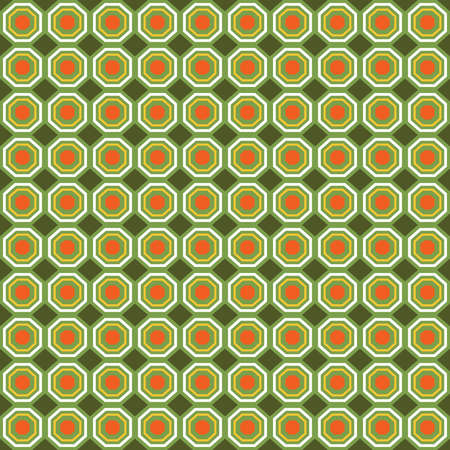 Vector seamless pattern texture background with geometric shapes, colored in orange, yellow, green and white colors.