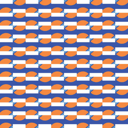 Vector seamless pattern texture background with geometric shapes, colored in orange, blue and white colors. Иллюстрация