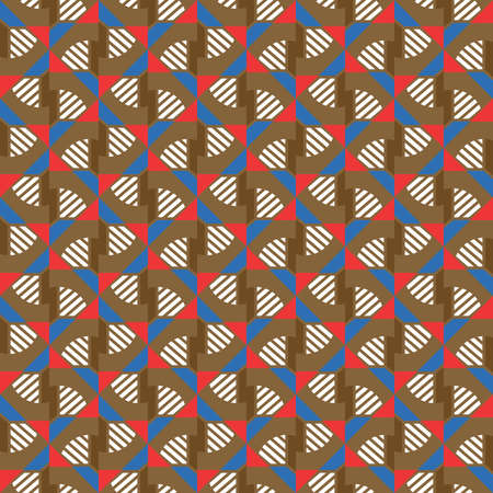 Vector seamless pattern texture background with geometric shapes, colored in brown, red, blue and white colors. Иллюстрация