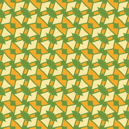 Vector seamless pattern texture background with geometric shapes, colored in green and yellow colors.