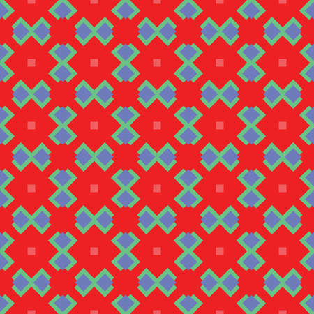 Vector seamless pattern texture background with geometric shapes, colored in red, green and blue colors.