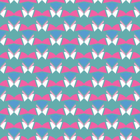 Vector seamless pattern texture background with geometric shapes, colored in blue, pink and white colors.