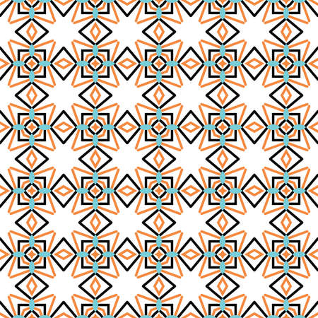 Vector seamless pattern texture background with geometric shapes, colored in blue, orange, black and white colors.
