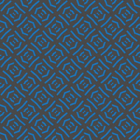 Vector seamless pattern texture background with geometric shapes, colored in blue and dark grey colors.