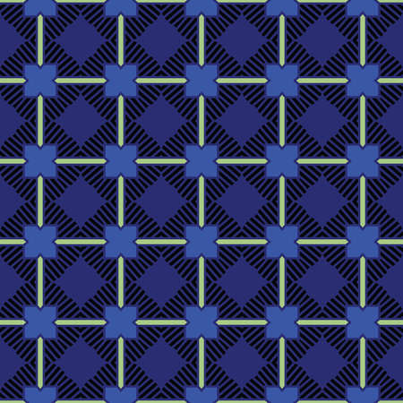 Vector seamless pattern texture background with geometric shapes, colored in navy blue, blue, black and green colors.