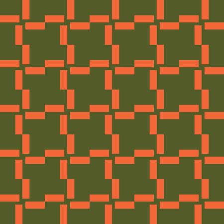 Vector seamless pattern texture background with geometric shapes, colored in green and orange colors.