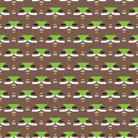 Vector seamless pattern texture background with geometric shapes, colored in brown, green, yellow, grey and white colors. Иллюстрация