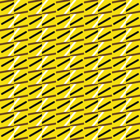 Vector seamless pattern texture background with geometric shapes, colored in yellow, brown, black and white colors. Иллюстрация