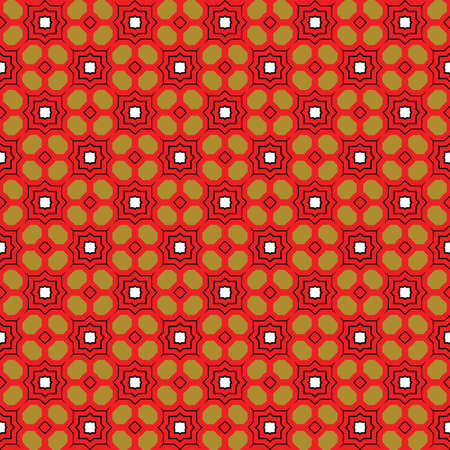Vector seamless pattern texture background with geometric shapes, colored in red, green, black and white colors.
