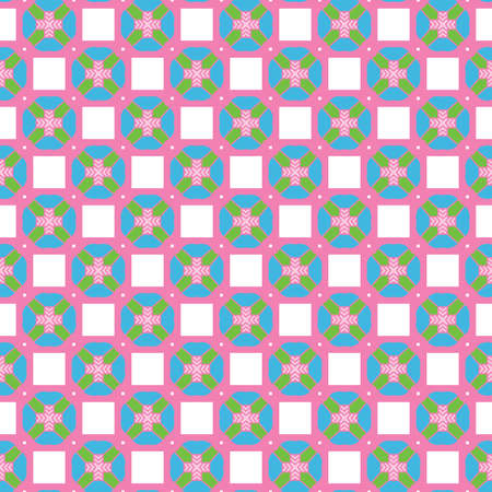 Vector seamless pattern texture background with geometric shapes, colored in pink, blue, green and white colors.