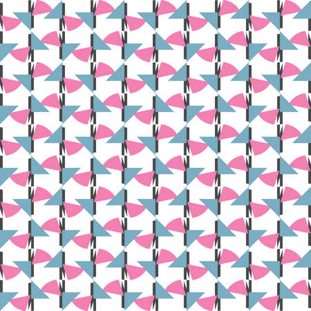 Vector seamless pattern texture background with geometric shapes, colored in pink, blue, dark grey and white colors. Иллюстрация